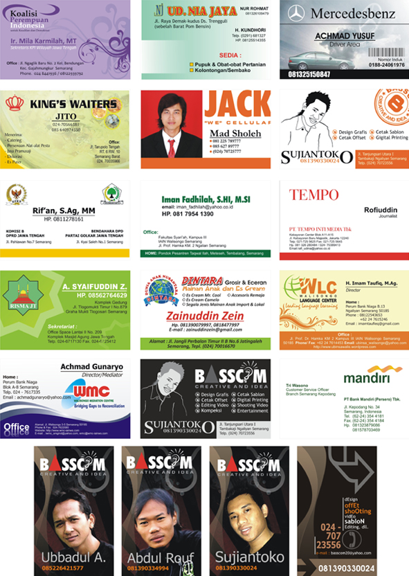 contoh beberapa desain kartu nama koleksi basscom graphic